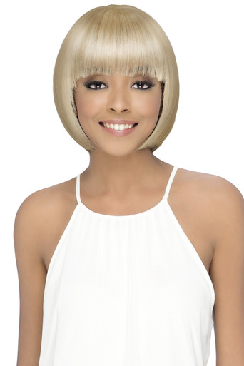 "Vivica A Fox 12"" Danish Short Straight w/ Layered Fringe Bang Pure Stretch Cap Wig"