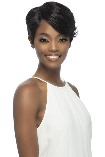 Vivica A Fox Short Lace Front Layred Cut w Side Bang & Invisible Part Lizzle Natural