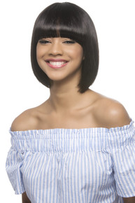 "11"" Remi Short Straight Bob w/ Fringed Bang Pure Stretch Cap Wig Coco"