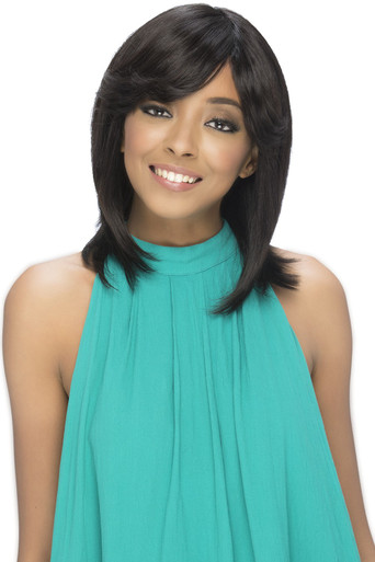 "15"" Remi Layered Straight Style w/ Fringed Bang Pure Stretch Cap Wig ESME"