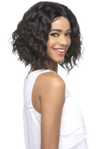 """12"""" Swiss Lace Front Wig Layered Ends Deep Wave Bob w/ Invisible center Part Kamill"""