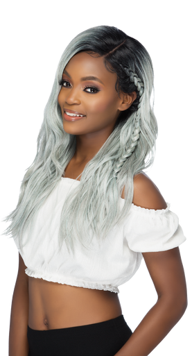 """23"""" Lace Front Wig Layered Body Wave w/ Side Part & Cornrow Braid  Sloane"""
