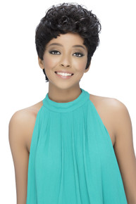 Short Layered Cut w/ Tight-Pin-Curl Front Bang Pure Stretch Cap Wig Vivid
