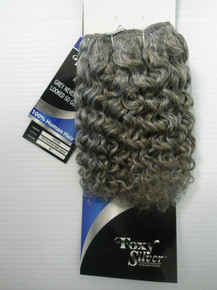 "8"" Salt n' Pepper 100% Human Hair Jerry Curl Weave Track Grey Color 51"