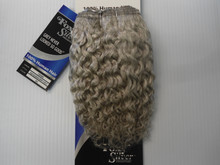"8"" Salt n' Pepper 100% Human Hair Jerry Curl Weave Track Grey Color 60 Sliver"