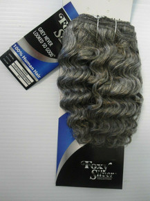 "8"" Salt n' Pepper 100% Human Hair Deep Wave Weave Track Grey Color 51"