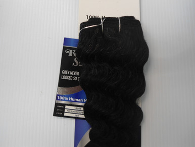 "8"" Salt n' Pepper 100% Human Hair Deep Wave Weave Track Grey Color 280"