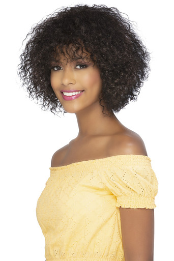 """Pure Stretched Cap 10"""" Natural Deep Curl w/ Curly Bang Wig Halona"""