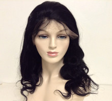 "14"" Full Lace Wig Indian Remy Human Hair Loose Deep Large Cap"