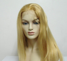 "16"" Full Lace Wig Remy Human Hair Straight #18/22 Blonde Medium Cap"