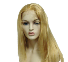 "16"" Full Lace Wig Remy Human Hair Straight #18/22 Mix Blonde"