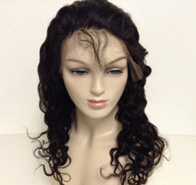 "14"" Full Lace Wig Indian Remy Human Hair Deep Wave Medium Cap"