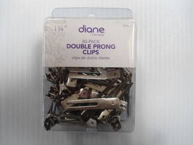 Diane Double Prong Hair Metal Curl Clip All Purpose, 80 pcs, 1.75""