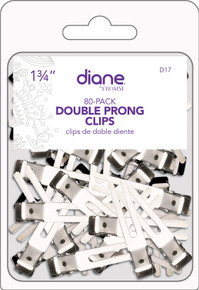"Diane Double Prong Hair Metal Curl Clip All Purpose, 80 pcs, 1.75"" D17"