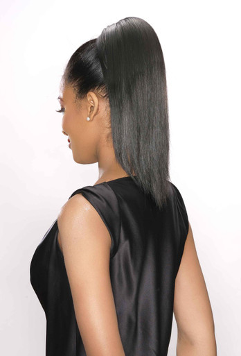 Synthetic Hairpiece Clip on Drawstring Ponytail Sebina Color 4 Dark Brown