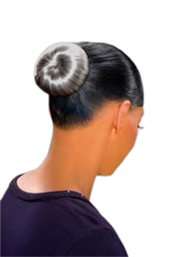 Foxy Silver Synthetic Hair Bun Medium Donut Free Dome Hairpiece