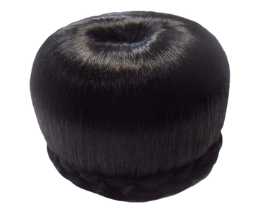 Synthetic Hair Bun - Medium Donut Dome, Side Braid Hairpiece 3.75""