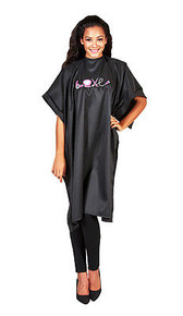 "Betty Dain Embroidered Love Cape Water Resistant Snap Closure 45""x60"" Black New"