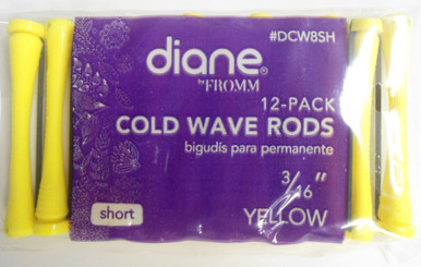 """Diane 3/16"""" Cold Wave Rods Curlers Hair Perm #DCW8SH 12-Pack Yellow, Short"""