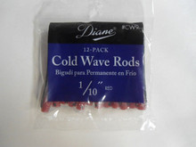 "Diane 1/10"" Cold Wave Rods Curlers Hair Perm #CW9 12-Pack - Red"