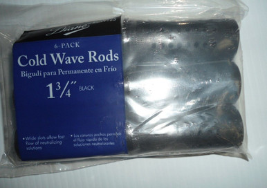 "Diane 1 3/4"" Cold Wave Rods Curlers Hair Perm #CW125 6-Pack - Black"