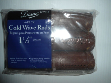 "Diane 1 1/2"" Cold Wave Rods Curlers Hair Perm #CW15 6-Pack - Brown"