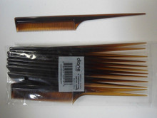"Diane 12-Pack 8"" Thin Rat Tail Combs Color Tortoise - Essential Salon Tools"