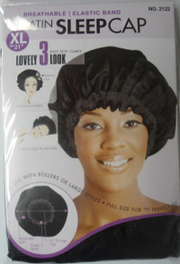 "Magic Satin Sleeping Cap 21"" XL Breathable Color Black #2122 