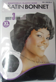"Magic Satin Bonnet 21"" XL Breathable Color Black 