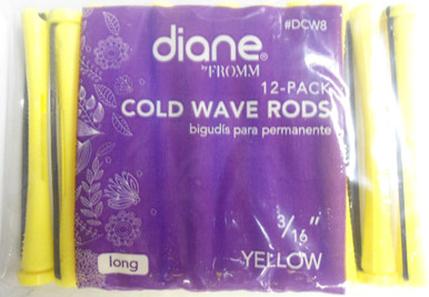 "Diane 3/16"" Cold Wave Rods Curlers Hair Perm #DCW8 12-Pack Yellow, Long"