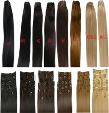 "16"" Clip in Human Hair Extensions, 10pc 100g Silky Straight + Colors"