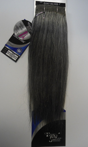"Foxy Silver 10"" Salt n' Pepper Human Hair Straight Weave Track Grey Color 51"