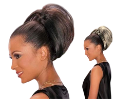 """Foxy Silver Synthetic Hair Clip on Drawstring Ponytail Bob 6"""" DS Hairpiece DS001"""