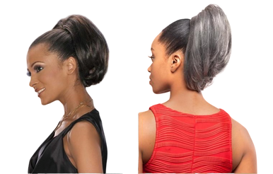 """Foxy Silver Synthetic Hair Clip on Drawstring Ponytail Bob 12"""" DS Hairpiece DS02"""