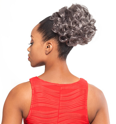 Foxy Silver Synthetic Hair Clip on Ponytail Short Curly DS Hairpiece DS04