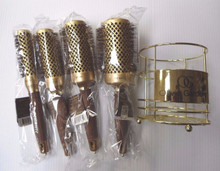 Olivia Garden Round Nano Thermic Ceramic Ion 4 Brushes Kit + Golden Metal Basket