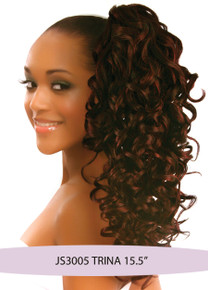 """Synthetic Hair Drawstring 15"""" Clip on Ponytail Hairpiece Black Brown Trina"""