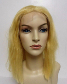 "Remi Human Hair Lace Front Wig Medium Cap, 12"" long, Color #613 Lighter Blonde"