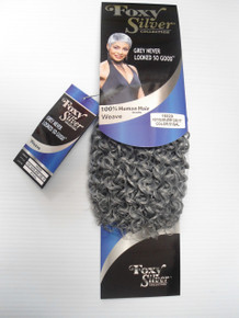 "10"" Salt n' Pepper Human Hair Blend Jerry Curl Weave Track Grey Color 51"