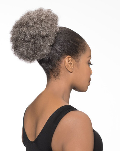 Foxy Silver Synthetic Hair Clip on Ponytail Short Afro DS Hairpiece DS07