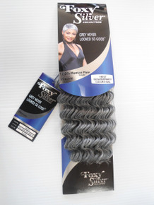 "12"" Salt n' Pepper Human Hair Blend Deep Wave Weave Track Grey Color 51"