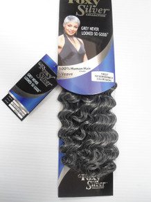 "12"" Salt n' Pepper Human Hair Blend Deep Wave Weave Track Grey Color 44"
