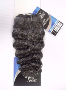 "12"" Salt n' Pepper Human Hair Deep Wave Weave Track Grey Color 44"