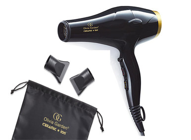 Olivia Garden Ceramic Ion Professional Hair Dryer + Two Free Thermal Brushes Box Deal