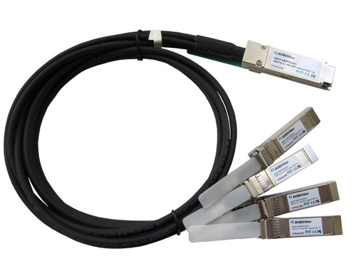 QSFP+ 40G to 4 SFP+ 10G quad fan-out passive copper DAC direct attach cable 1m length (QSFP-4SFP10-01C) (view)