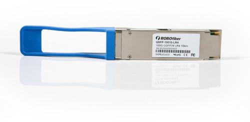 QSFP-10010-LR4 Ethernet 100G QSFP transceiver 10Km range, LC dual connector, quad CWDM 25G lasers, front view