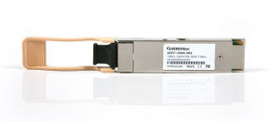 QSFP-10000-SR4 Ethernet 100G QSFP transceiver 100m range, MPO connector, four 25G SR4 channels, front view