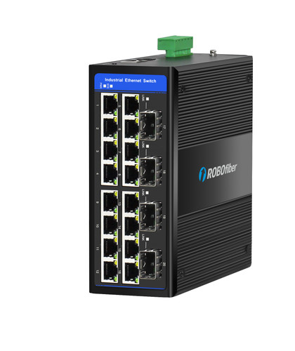 HGW-1604SM Gigabit Ethernet Managed Industrial switch with four fiber ports for extreme temperatures, -40 to +75 Celsius