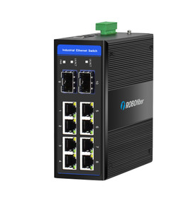 HGW-802SM Gigabit Ethernet Managed Industrial switch with two fiber ports for extreme temperatures, -40 to +75 Celsius