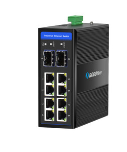 HSW-802GS Fast Ethernet Industrial switch with Gigabit fiber ports for extreme temperatures, -40 to +75 Celsius